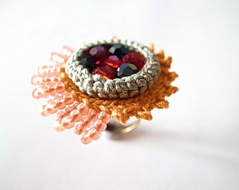 Crochet Jewelry (Style 4)Statement Ring, Fiber Jewelry, Crochet Ring