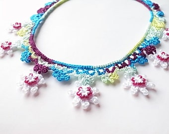 Crochet Lace Jewelry (Sweet Girl 1) Fiber Jewelry, Crochet Necklace