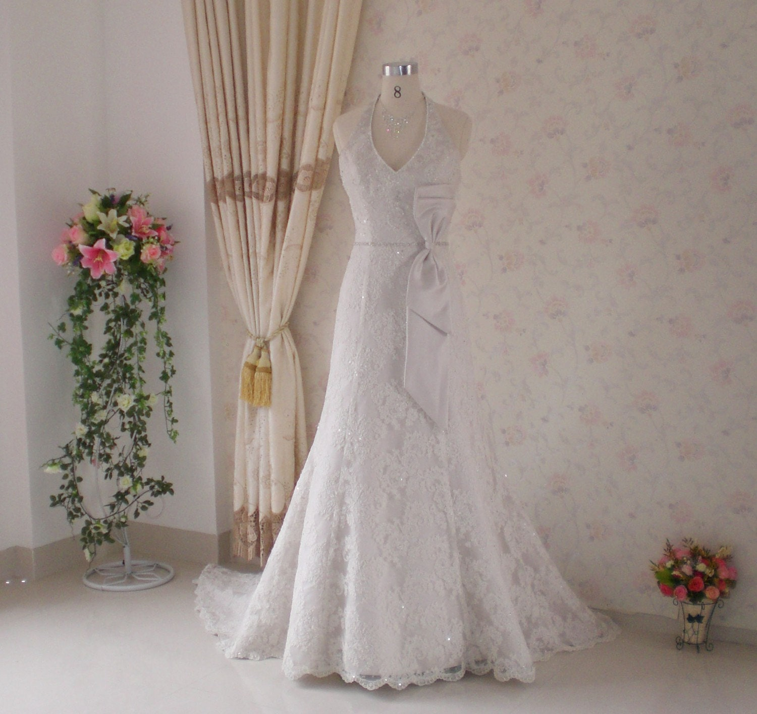 Trumpet Style Wedding Dress with French Lace Halter and Bow
