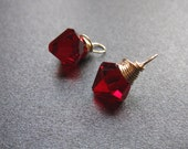 Deep Red CHERRY interchangeable earrings drops pair, Genuine Swarovski Crystal 8mm bicone charms wire wrapped dangles, gold silver rose gold