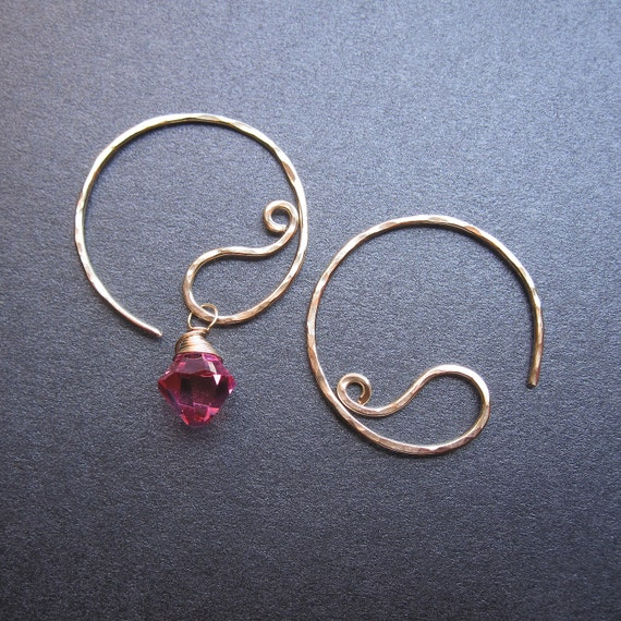 Interchangeable Earrings Textured SMALL PAISLEY HOOP Earrings for charms Sterling, Gold Filled, Oxidized Silver, Rose Gold Free Drops