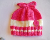 Baby Hat  knitted  0-6 mo. hot pink and ecru