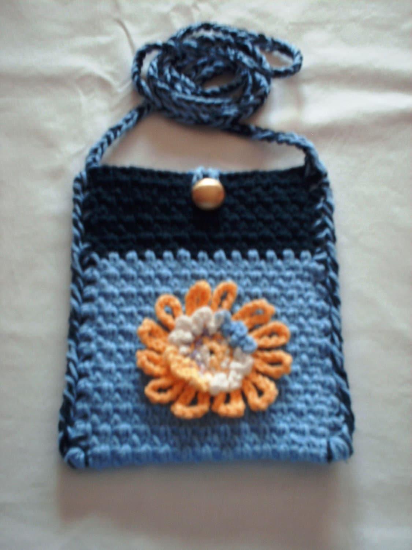 Easy Crochet Crossbody Bag Pattern : Small Crochet Shoulder Bag - Blue Crossbody Bag
