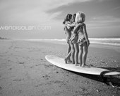 Surfer Girls, black and white, 16x24 mounted print