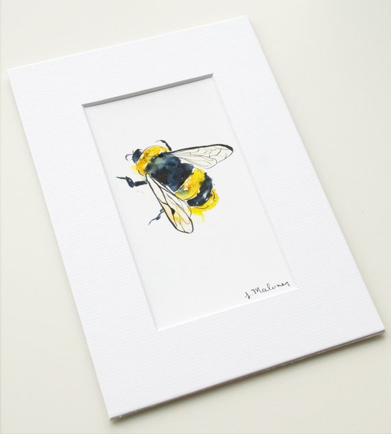 Bumble Bee - Mix & Match Mini Print - Watercolor - Wall Art - Spring - Garden - Yellow - Happy Bee