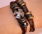 Vintage inspired leather Bracelet, Free shipping