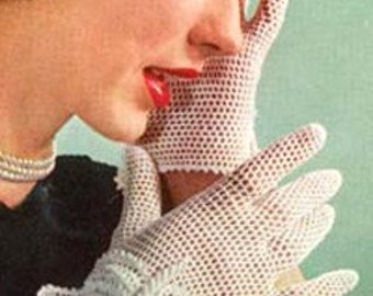 PDF 1950s Bridal Wedding Gloves Vintage Crochet E-Pattern G01