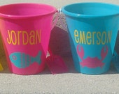 Set of 4 Personalized plastic Beach pail bucket party gift favor basket  NAME AND IMAGE - Maggiebelles