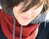 Portland Hoodie Cowl Scarf with Drawstring - Rust Orange/ Grey - Unisex, Adults, Kids