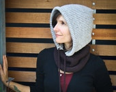 Portland Hoodie Cowl Scarf with Drawstring - Brown/Grey - Unisex, Adults, Kids