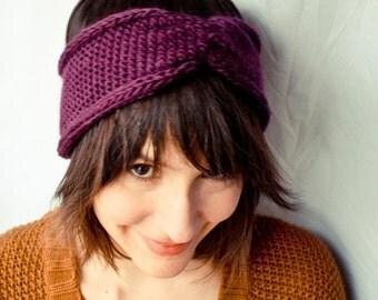 Knit Headband Turban - Cinched Headwrap - Plum Purple