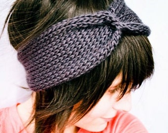 Knit Headband Turban - Cinched Headwrap - Gun Metal Grey
