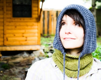 KNITTING PATTERN Portland Hoodie Cowl - Knit Hooded Cowl Scarf with Drawstring - Unisex