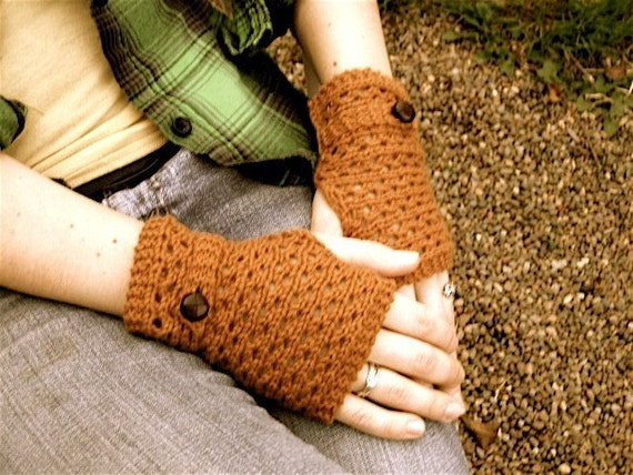 Lace Knit Handwarmers with Grandpa Buttons - Cotton Cashmere - Sandalwood