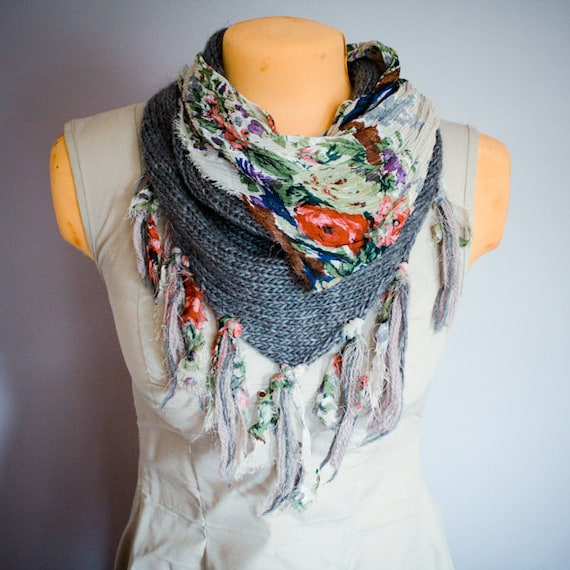 Cottage Floral Cowl Scarf - Reversible Knit Kerchief with Fabric and Fringe
