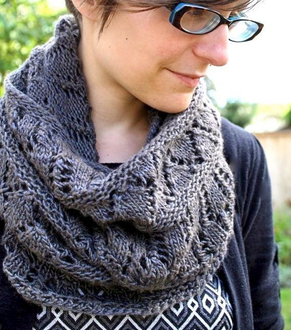 Cowl KNITTING PATTERN PDF File- Lace Circle Scarf, Cowl, Snood - Balustrade f...