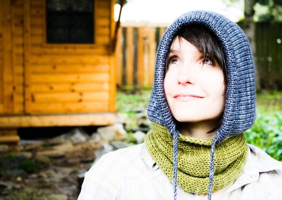 Drawstring Cowl Knitting Pattern : KNITTING PATTERN Portland Hoodie Cowl Knit Hooded Cowl Scarf