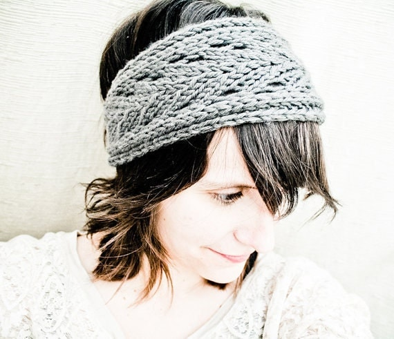 Pattern Knit Headband : KNITTING PATTERN PDF File Lacefield Knit Headband by NeekaKnits