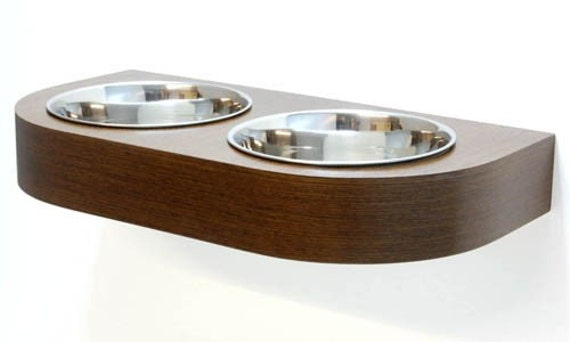 items similar to wall mounted pet feeder two quart bowls on etsy. Black Bedroom Furniture Sets. Home Design Ideas