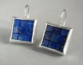 Mosaic Earrings - Lapis Lazuli Silver Earrings - Square Earrings - Blue Gemstone Earrings - Mosaic Jewelry - French Wire Earrings