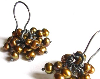 Pearl Cluster Ear Dangles - Ready To Ship