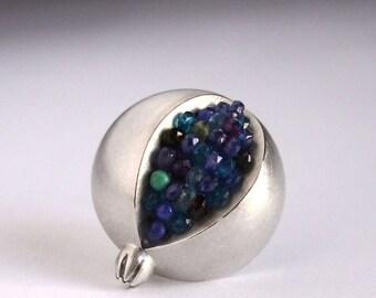 Pomegranate Brooch - Blue Sapphire Pomegranate Silver Brooch - pomegranate jewelry - blue gemstone silver brooch - silver pomegranate pin
