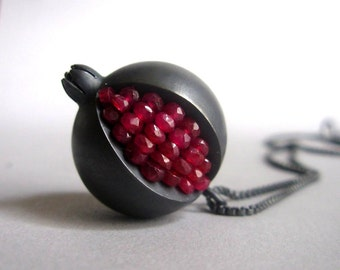 Pomegranate Pendant - Ruby Oxidized Silver Necklace - Pomegranate Silver Necklace - pomegranate jewelry - black pomegranate necklace