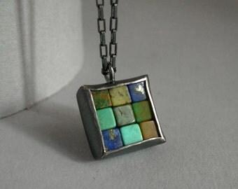 Mosaic Necklace - Lapis Lazuli Turquoise Silver Necklace - Mosaic Pendant - Square Pendant - blue silver pendant - blue mosaic jewelry