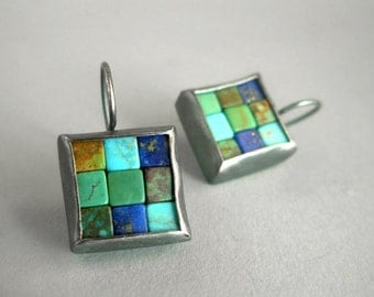 Mosaic Earrings - Lapis Lazuli, Turquoise & Silver