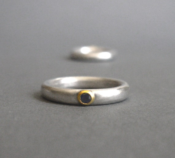Blue Sapphire 22 Karat Gold Sterling Silver Ring READY TO SHIP