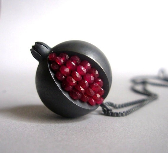Pomegranate Pendant - Ruby Oxidized Silver