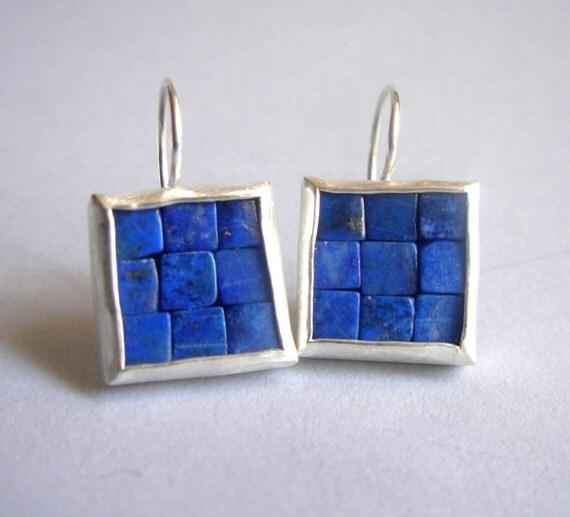 Mosaic Earrings - Lapis Lazuli & Silver