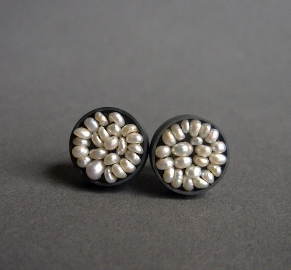 Seed Pod Ear Studs - Seed pearls and oxidized sterling silver