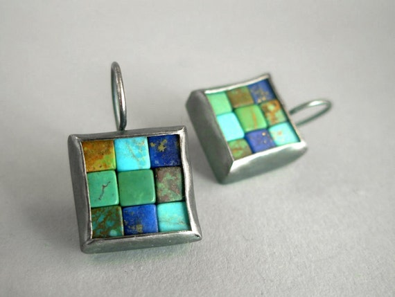 Mosaic Earrings - Lapis Lazuli Turquoise Silver Earrings - Square Earrings - Blue Gemstone Earrings - Mosaic Jewelry - French Wire Earrings