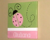 """Wall Words Hand-Painted Wood on 12"""" x 12"""" Canvas-Name Ladybug  Light Pink, Sage Green. Made to order- choose colors, fonts,etc.."""