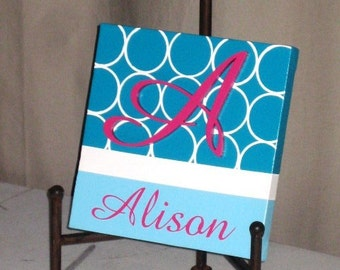 """Hand-Painted Wooden Wall Words on 8"""" x 8"""" Canvas-Single Letter and Name Hot Pink Turquoise Blue Made to order, select colors"""
