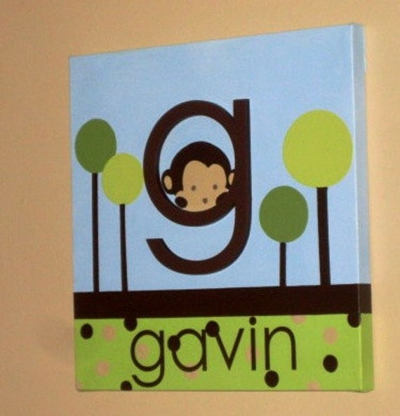 """Wall Words Hand-Painted Wood on 12"""" x 12"""" Canvas-Initial and Name Green Blue Trees Monkeys"""