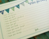 Set of 50 Professionally Printed Wishes for Baby Boy Cards - Unique Baby Shower Activity Game or Memory Book Idea - Blue and Green