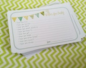 Neutral Wishes for Baby Cards - Unique Baby Shower Activity Game or Memory Book Idea - Set of 25 - Yellow and Green
