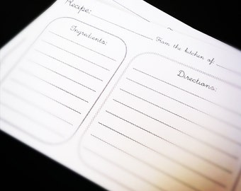 Recipe Cards - Curly Font, Sturdy Black and White Recipe Cards Divided into Two Sections