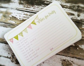 Wishes for Baby Girl Cards - Unique Baby Shower Activity Game or Memory Book Idea - Pink and Green