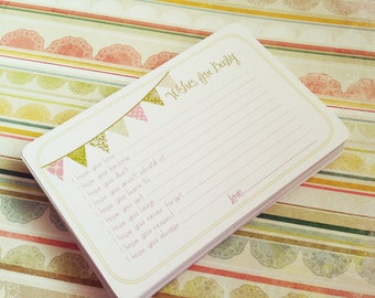 Set of 30 Wishes for Baby Girl Cards - Professionally Printed Unique Baby Shower Activity Game or Memory Book Idea - Pink and Green