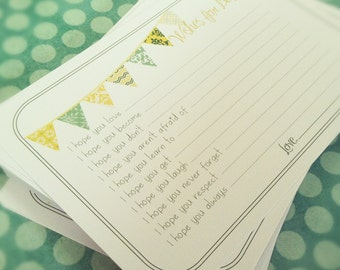 Neutral Wishes for Baby Cards - Unique Baby Shower Activity Game or Memory Book Idea - Yellow and Green