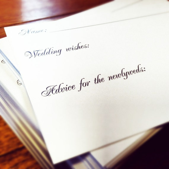 4x6 Heavy Duty Wedding Guest Book Cards - Wishes and Advice - Simple Black and White Guest Book Alternative