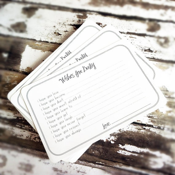 Set of 50 Wishes for Baby Cards - Professionally Printed Unique Baby Shower Activity Game or Memory Book Idea