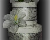 Reseved for debbie only!! Wedding Gift, Shower Gift, Mr &Mrs., Hostess Gift, Wedding Two Tier Vanilla Swirl Towel Cake