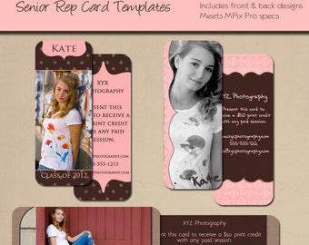 MPixPro Senior Rep Cards - KATE SENIOR COLLECTION - Templates for Photographers - 1.375 by 3.5 inches