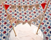 Cake Bunting - Happy Birthday Party Flags - Hand-stamped