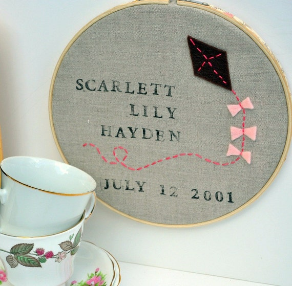 Modern Baby Gift - Embroidered Kite -  Heirloom Wall Decor