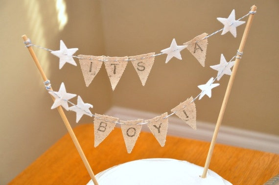 It's A Boy Cake Bunting - Baby Shower Party Flags - Hand-stamped
